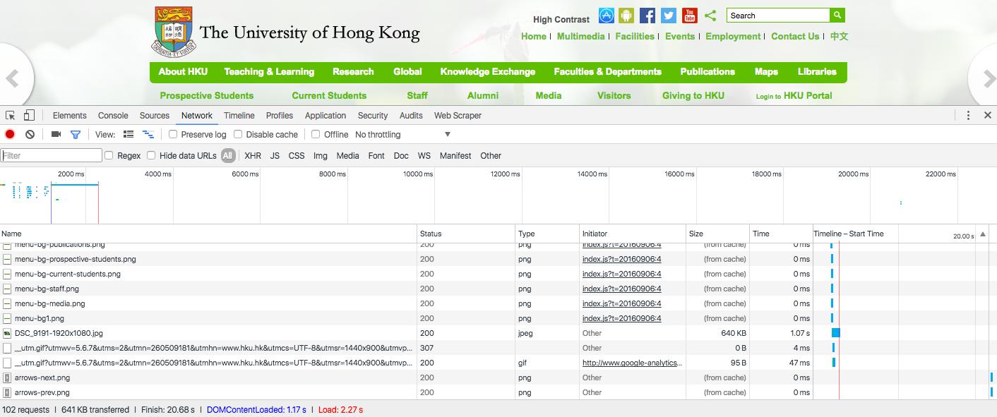 Vitesse de chargement de l'université de Hong Kong